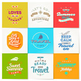 Set of travel and vacation type design. Set of travel and vacation type emblems and symbols Royalty Free Stock Images