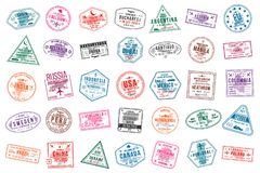 Set of travel visa stamps for passports. International and immigration office stamps. Arrival and departure visa stamps. To Europe, America, Asia and Australia royalty free illustration