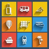 Set of 9 travel web and mobile icons. Vector. Stock Image
