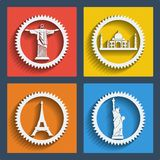 Set of 4 travel web and mobile icons. Vector. Royalty Free Stock Photo