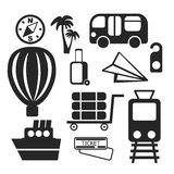 Set of travel web and mobile icons. Vector. Stock Image