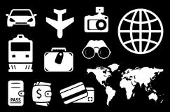 Set travel white icon Stock Images