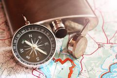 Set traveler,a metal flask and compass. Object Stock Image