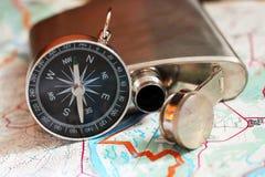 Set traveler,a metal flask and compass. Object Stock Photos