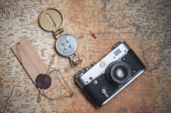 Set the traveler on the old map Royalty Free Stock Photo