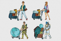 Set travelers man woman soldier and astronaut Royalty Free Stock Photo