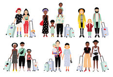 Set of traveling families and couples. Different fashionable people with luggage, children. Colorful vector collection. In cartoon style Stock Images