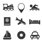 Set of traveling icons. Set of black traveling icons on white Royalty Free Stock Photos