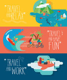 Set of traveling  illustrations. Different types of travel. Stock Image
