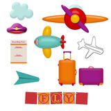 Set of traveling items Stock Images