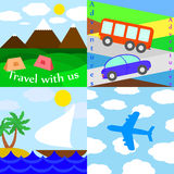Set of travelling illustrations. Flat illustrations of airplane, bus, car, ship. Adventures. Travel with us Stock Photo