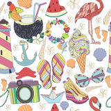 Set of travelling symbols. Summer pattren. Enjoy life concept. Royalty Free Stock Photo