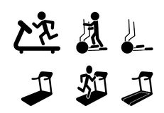 Set of Treadmill and Elliptical icons and symbol. Vector design Royalty Free Stock Photography
