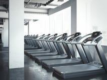 Set of treadmills near windows. 3d rendering Stock Photo