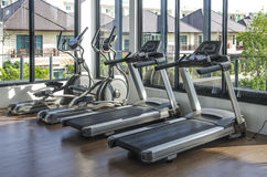 Set of treadmills at a small health club. Stock Photos
