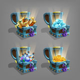 Set of  treasure in chest. Golden coins, gems, potions and scrools. Royalty Free Stock Photography
