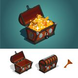Ancient treasure chest with gold. Game design concept. Isometric cartoon illustration. Set of treasure chests. Ancient box Game design concept. Full, empty and royalty free illustration
