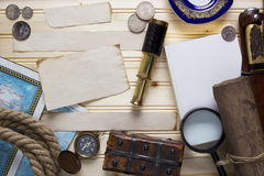 Set a treasure hunt and a traveler Royalty Free Stock Photo