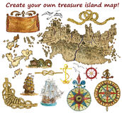Set for treasure island map isolated Royalty Free Stock Photography