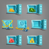 Set of  treasure in safe. Golden coins, golden bars, gems and dollars. Vector illustration Stock Photo