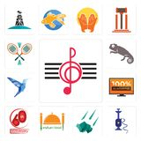 Set of treble clef, shisha, meteorite, indian food, 60th anniversary, 100 guarantee, colibri, chameleon, badminton icons. Set Of 13 simple editable icons such as Stock Photography
