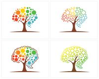 Set of Tree with Brain logo design template, Brain Colorful logo design Vector royalty free illustration