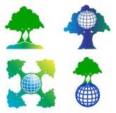 set tree för jordklotlogo Royaltyfri Bild