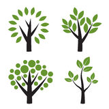 Set of  tree with green leafs Royalty Free Stock Image
