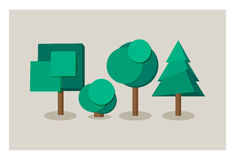 Set of tree icons in flat style Royalty Free Stock Images