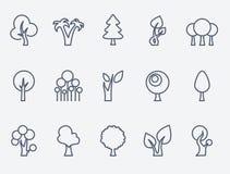 Set of 15 tree icons. Stock Image
