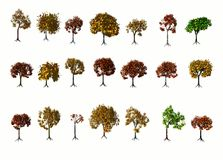 Set of tree illustrations Royalty Free Stock Image