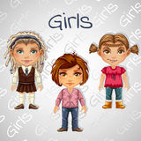 Set of tree images of teenager girls for animation Royalty Free Stock Photography