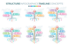 Set of tree infographics templates with branches options. And root. Tree timeline process. Vector illustration vector illustration