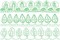 Set of tree lines. Stock Images