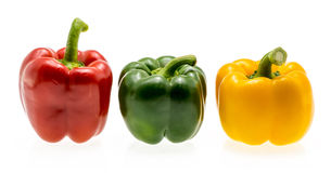 Set of tree peppers red green yellow. Royalty Free Stock Image
