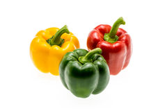 Set of tree peppers red green yellow. Stock Image