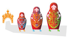 Set of tree russian dolls matreshka Stock Photos
