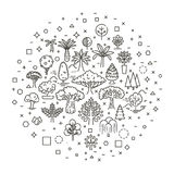 Set of Tree shape Vector Line Icons royalty free illustration