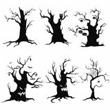 Set of tree silhouettes for Halloween. A collection of monster trees with bats and pumpkins. Black and white vector illustration