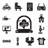 Set of Tree, Smart clothing, Panoramic view, Mechanical arm, Hoverboard, Robot, Artificial intelligence, house, Chainsaw icons. Set Of 13 simple editable icons Royalty Free Stock Photography