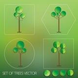 Set of tree vector. Set of geometric trees vector illustration Stock Photography