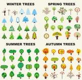 Set of trees. Located on seasons Stock Image
