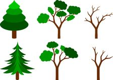 Set of trees. Collection of coniferous, leafy and naked trees Royalty Free Stock Images