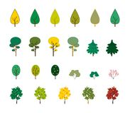 Set of trees. Set of autumn trees and bushes Stock Photography