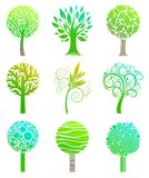 Set of trees. Set of nine trees sign Stock Photography