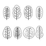 Set of trees abstract linear icons. Hand-drawn forest trees. Vector illustration stock illustration
