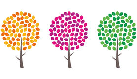 Set of trees. Set of bright trees with spherical crowns Stock Photography
