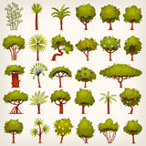 Set of trees. Collection of bushes, trees, palms and pines icons for your design. Flat game design elements. Vector illustrations Royalty Free Stock Image