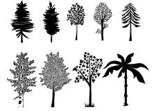 Set trees contouts in black stock illustration