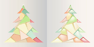 Set of trees of different color triangles. Two Christmas trees of different color triangles Stock Illustration